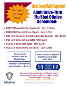 MACON drive thru FLU vaccine clinic 9-5:30 @ Macon County Fairgrounds