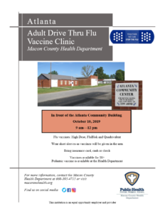 ATLANTA Drive-Thru flu vaccine clinic 9am-12pm @ In front of the Atlanta Community Building