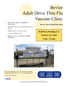 BEVIER Drive-Thru flu vaccine clinic  9am-12pm @ Parking lot of Bevier Ball Park