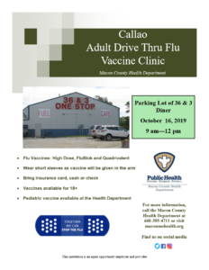 CALLAO Drive-Thru flu vaccine clinic 9am-12pm @ Parking Lot of 36 & 3 Cafe