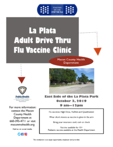 LAPLATA Drive-Thru flu vaccine clinic 9am-12pm @ East Side of La Plata Park