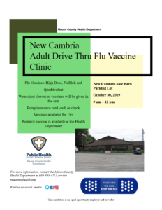 NEW CAMBRIA Drive-Thru FLU vacccine clinic  9am-12pm @ Parking Lot of New Cambria Sale Barn