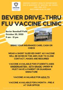 Bevier Drive-Thru Flu Vaccine Clinic @ Bevier Baseball Field